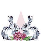 Peonies & Bunnies (White) by scatterbee