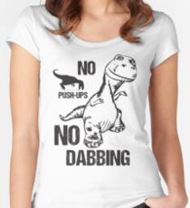 T-Rex No Push-Ups No Dabbing Funny Dinosaur Dab Joke Women's Fitted Scoop T-Shirt