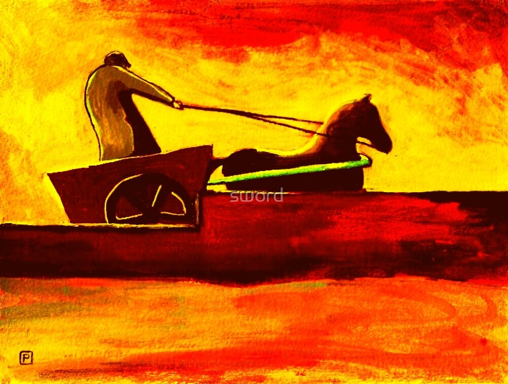 Horse and cart by sword
