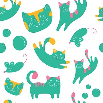 Green Cat Illustration by SouthCherry