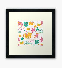 Cute Feline Cartoon Cat Print Framed Print