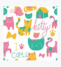 Cute Kitty Cartoon Print Photographic Print