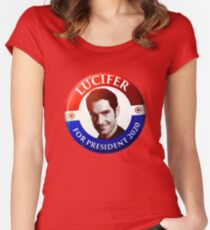 Lucifer For President Women's Fitted Scoop T-Shirt