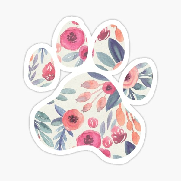 Muted Watercolor Paw Print Sticker