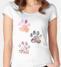 Floral Paw Print Trio Women's Fitted Scoop T-Shirt
