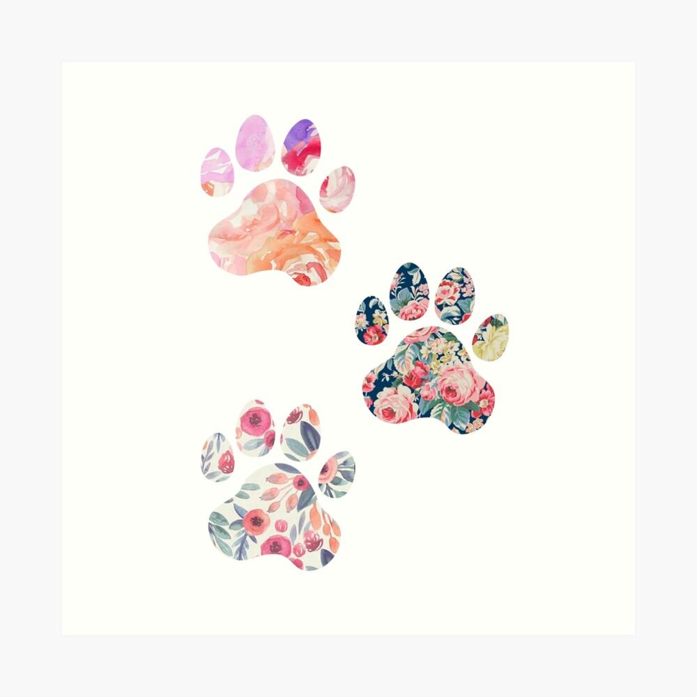 Floral Paw Print Trio Art Print