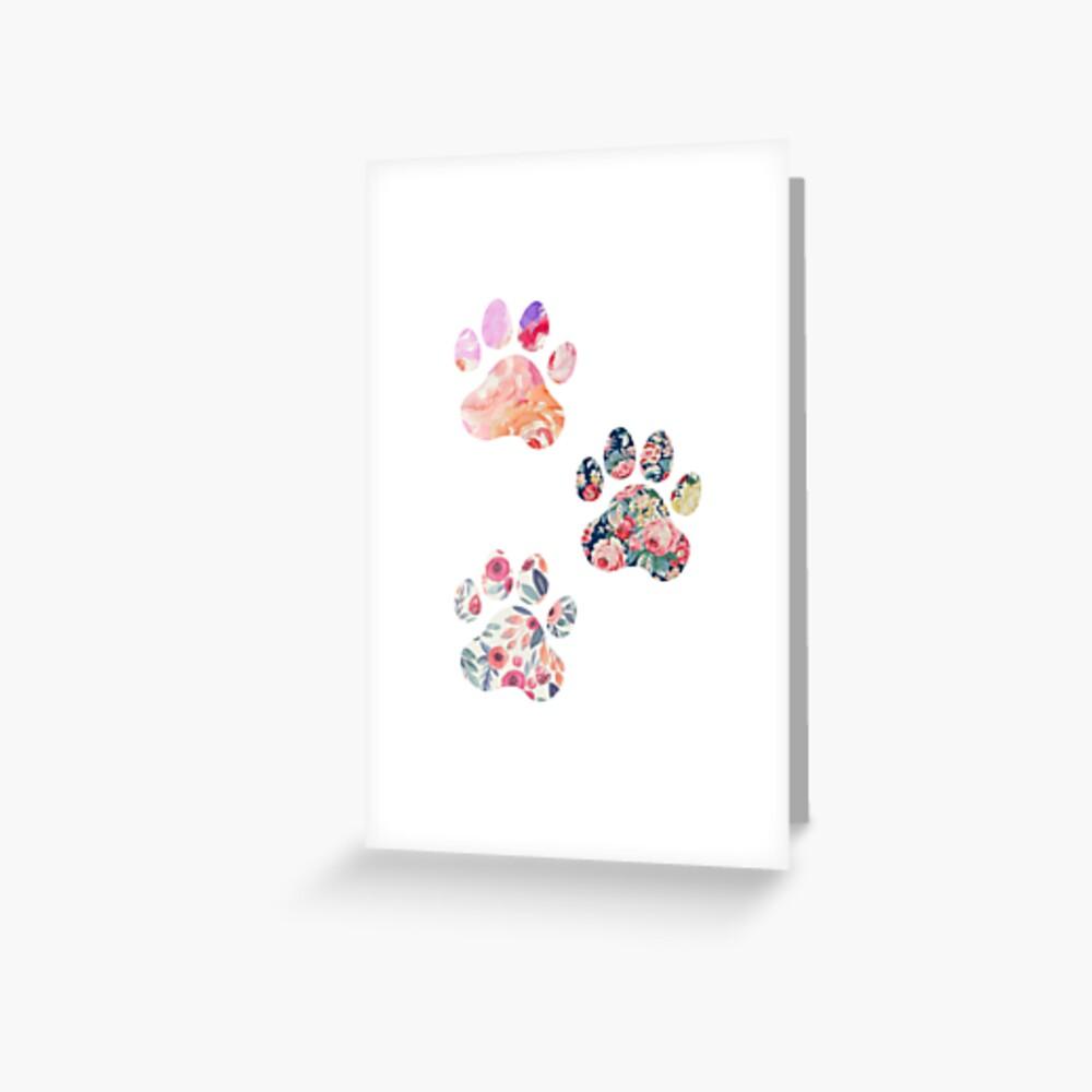 Floral Paw Print Trio Greeting Card
