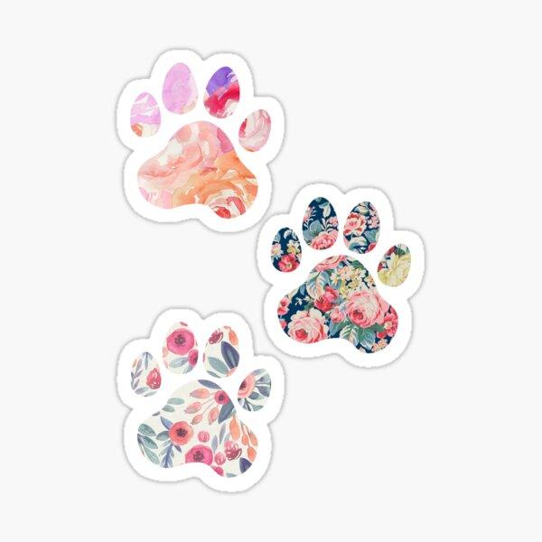 Trio con estampado floral de pata Pegatina