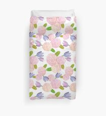 Pink Roses & Purple Tulips Watercolor Pattern Duvet Cover