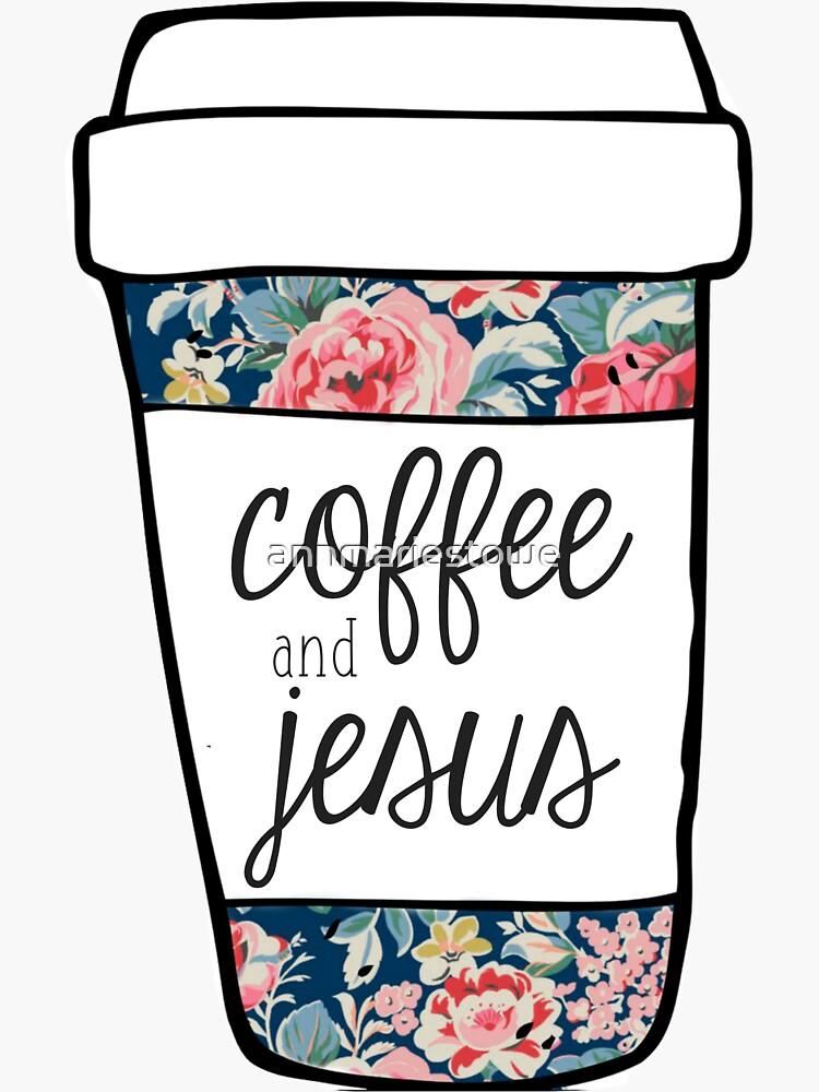 Coffee and Jesus Navy Floral Mug by annmariestowe