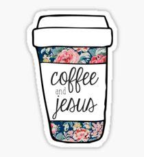 Pegatina Taza floral de la marina de guerra del café y de Jesús