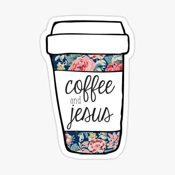 Coffee and Jesus Navy Floral Mug Sticker