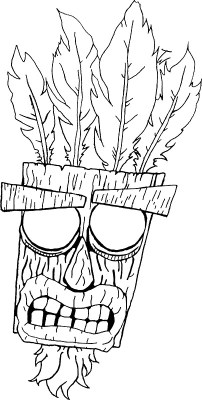Aku aku crash bandicoot ooga booga stickers by tom for Crash bandicoot coloring pages