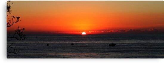 Fishing Boats At Sunrise by Evita