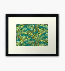 Palm Leaves_Gold and Teal Framed Print