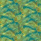 «Palm Leaves_Gold and Teal» de miavaldez