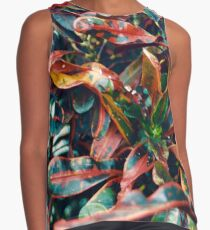 Red and Green Croton Contrast Tank