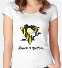 Black Yellow Wiz Penguins Pittsburgh hiphop Women's Fitted Scoop T-Shirt