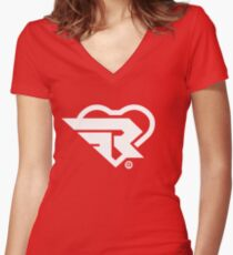 Ribbon Girl Logo -  White Women's Fitted V-Neck T-Shirt