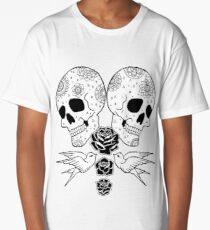 Black Rose Skulls Long T-Shirt