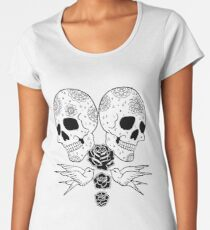 Black Rose Skulls Women's Premium T-Shirt