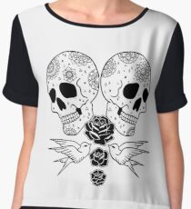 Black Rose Skulls Chiffon Top