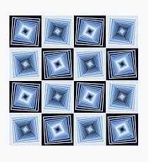 Blue Geometric Tunnels Photographic Print