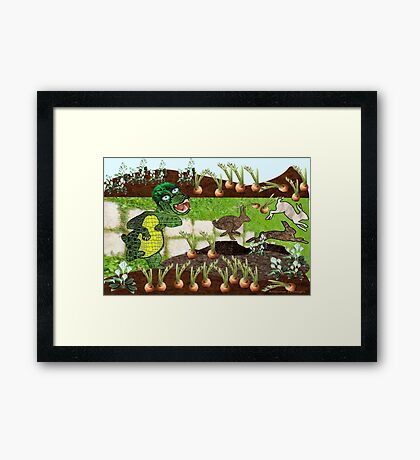 Greeny chases rabbits of his carrot patch ( 844 Views) Framed Print