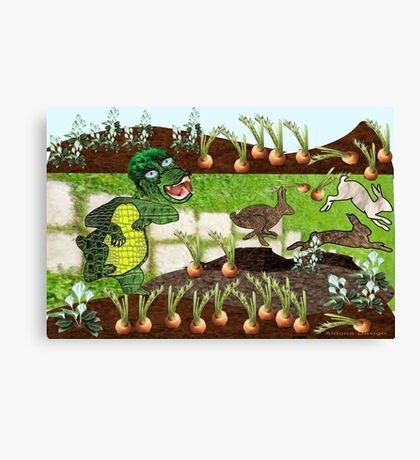 Greeny chases rabbits of his carrot patch ( 844 Views) Canvas Print