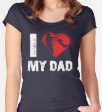 I Love My Dad Father Daughter T-shirts Women's Fitted Scoop T-Shirt