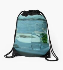 Seaside Lunch - Come join me! Drawstring Bag