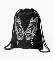 Fairy Wings (White Linework) Drawstring Bag