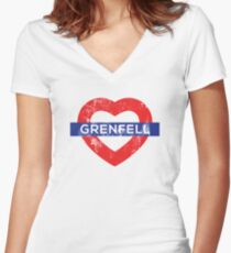 Grenfell tower shirt Women's Fitted V-Neck T-Shirt