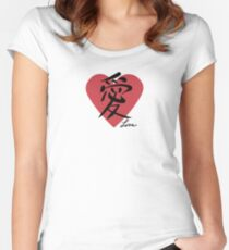 Love in Japanese Kanji Women's Fitted Scoop T-Shirt