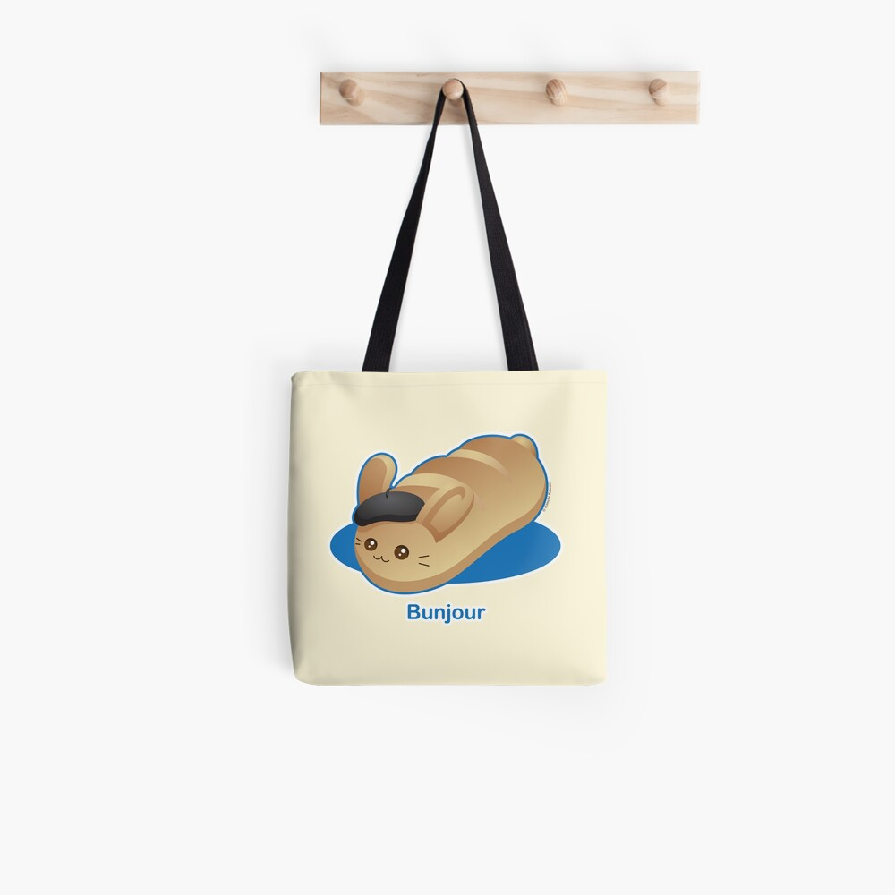 Bunjour -  Cute French Bread Bunny Pun Tote Bag