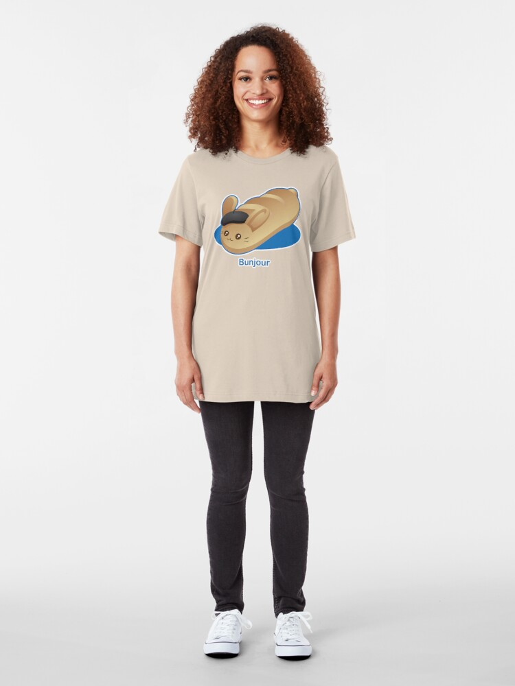 Alternate view of Bunjour -  Cute French Bread Bunny Pun Slim Fit T-Shirt