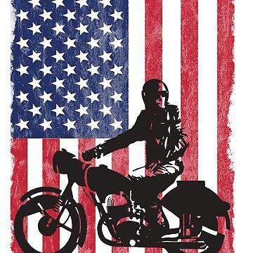 Motorcyclist Motorbiker USA Flag Design by kudostees