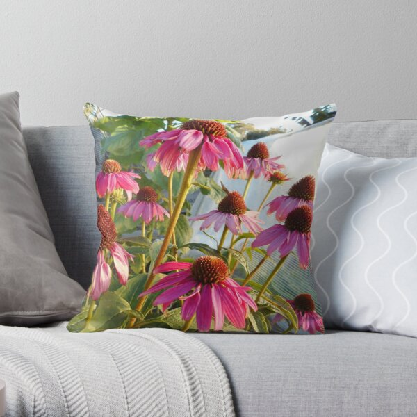 Cone flowers in winter garden Throw Pillow