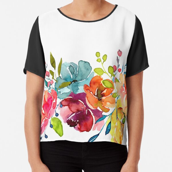 Bright Flowers Summer Watercolor Peonies Chiffon Top