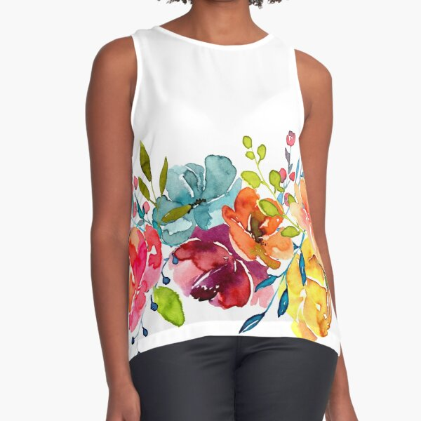 Bright Flowers Summer Watercolor Peonies Sleeveless Top