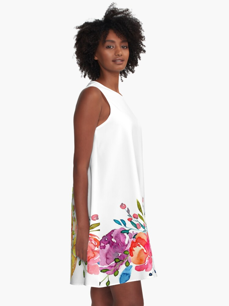 Alternate view of Bright Flowers Summer Watercolor Peonies A-Line Dress