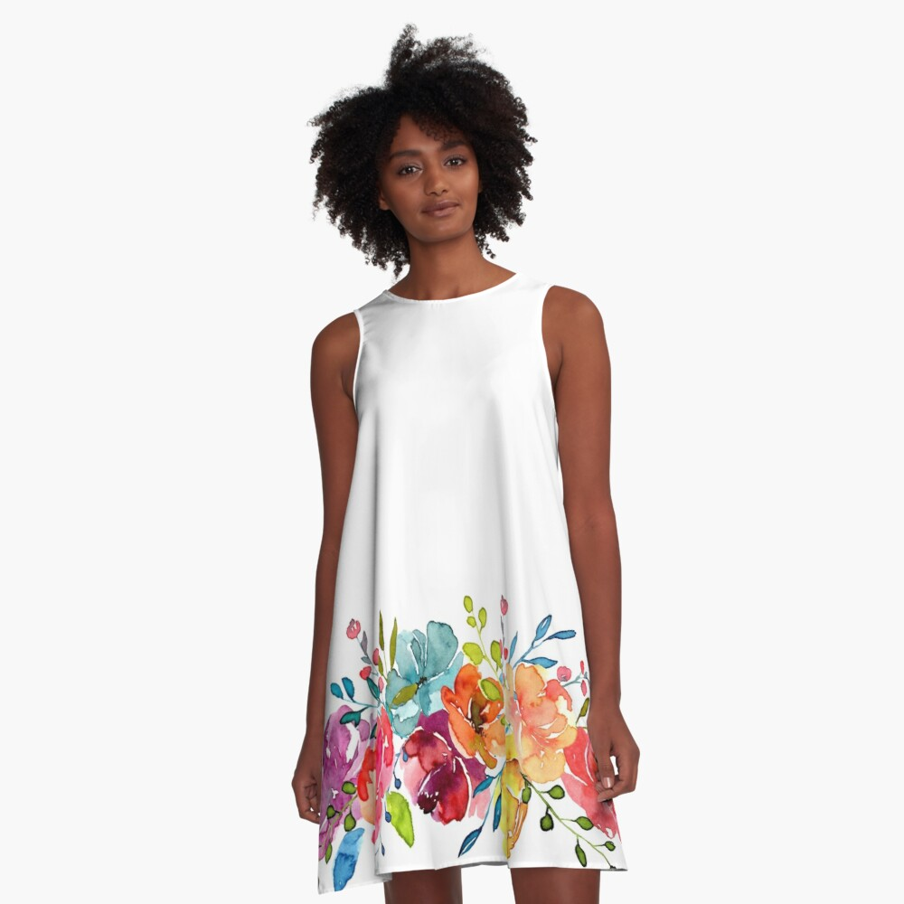 Bright Flowers Summer Watercolor Peonies A-Line Dress
