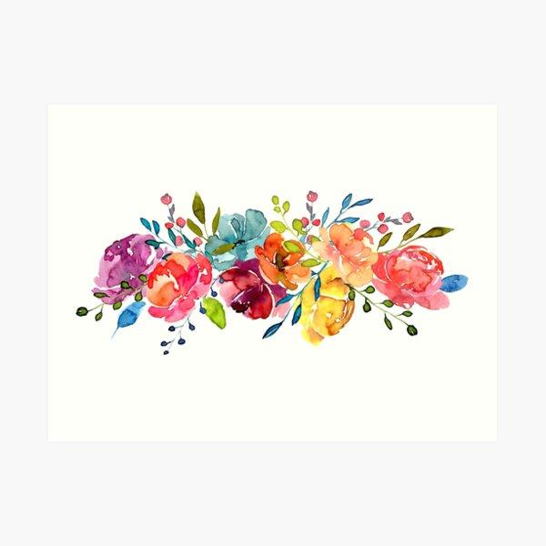 Flores Brillantes Verano Acuarela Peonías Lámina artística