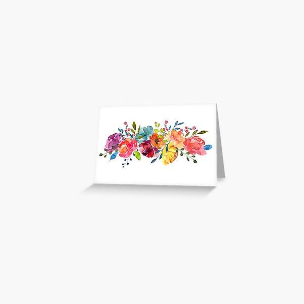 Bright Flowers Summer Watercolor Peonies Greeting Card