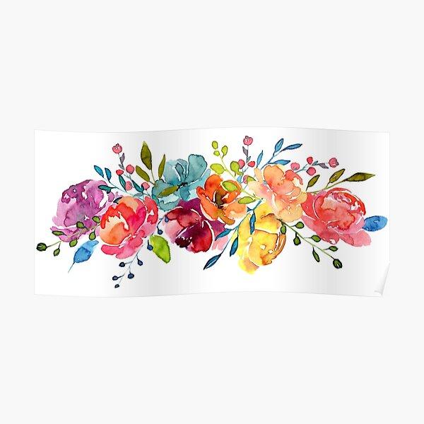 Helle Blumen Sommer Aquarell Pfingstrosen Poster