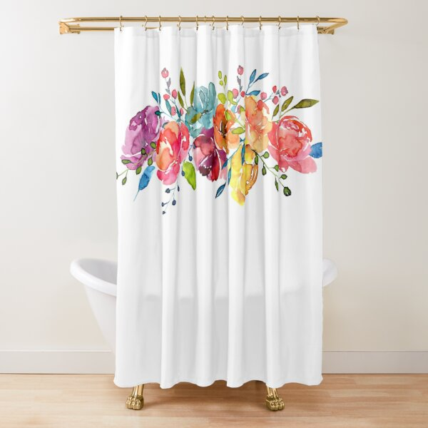Bright Flowers Summer Watercolor Peonies Shower Curtain