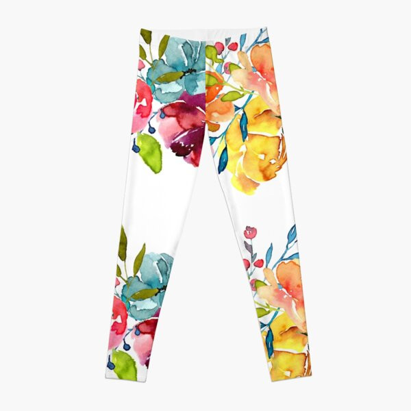 Bright Flowers Summer Watercolor Peonies Leggings