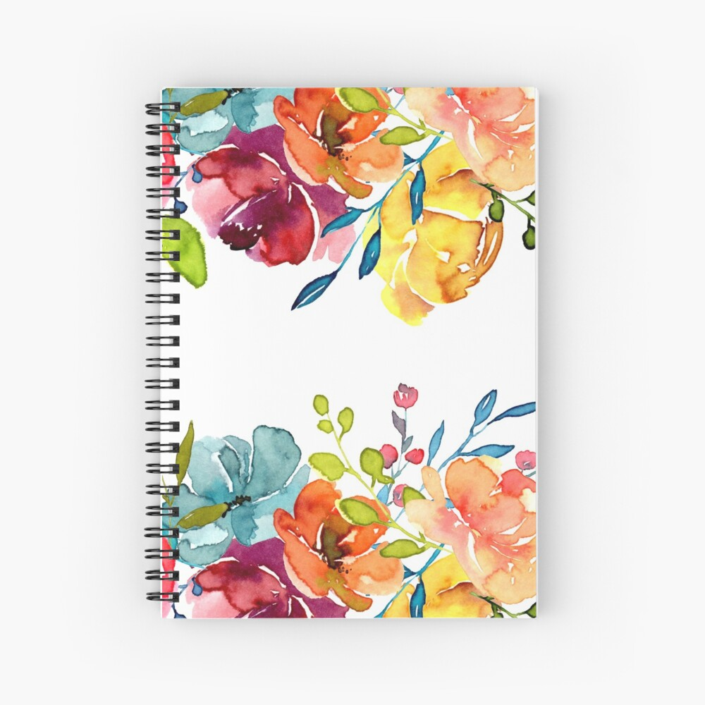 Bright Flowers Summer Watercolor Peonies Spiral Notebook