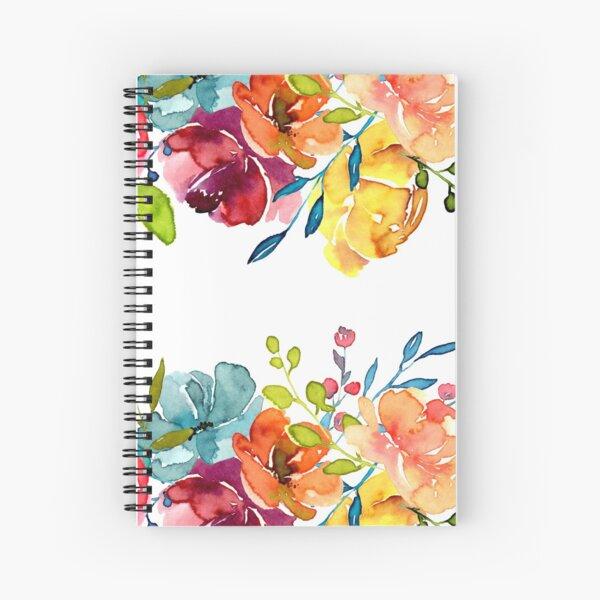 Bright Flowers Summer Watercolor Peonies Spiral Notebook