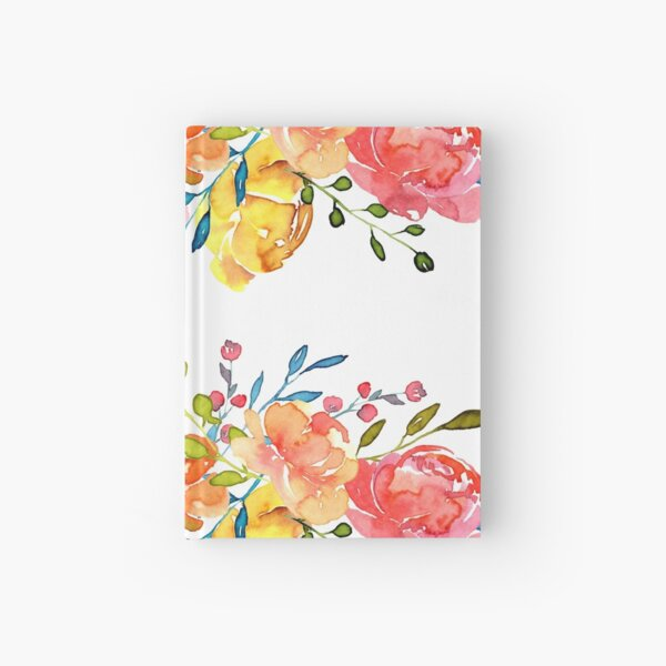 Bright Flowers Summer Watercolor Peonies Hardcover Journal